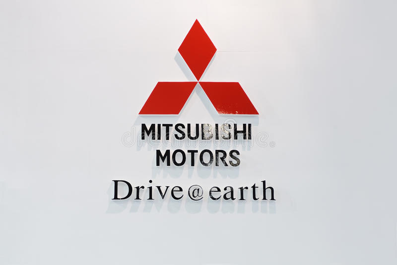 Mitsubishi motors logo. Road to China's West - 13th Chengdu Motor Show, September 18th-24th, 2010 royalty free stock photos