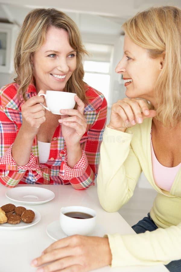 Mitt- ålderkvinnor som hemma pratar över kaffe arkivfoto
