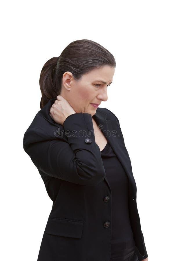 Mitt åldrades akuta halsen för kvinnan smärtar royaltyfria bilder