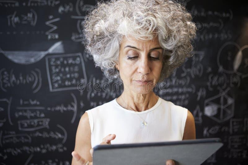 Mitt åldrades den akademiska kvinnan som använder upp minnestavlan, slut royaltyfria foton