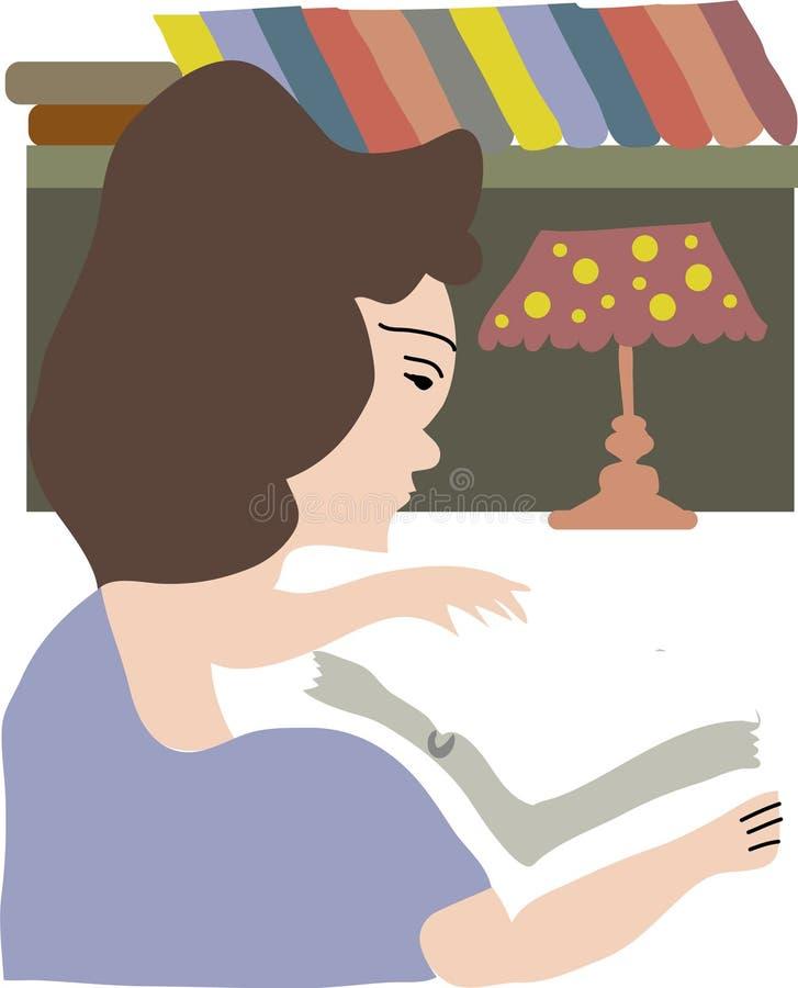 Mitt åldrades kvinnlign läser en bok i mörker stock illustrationer