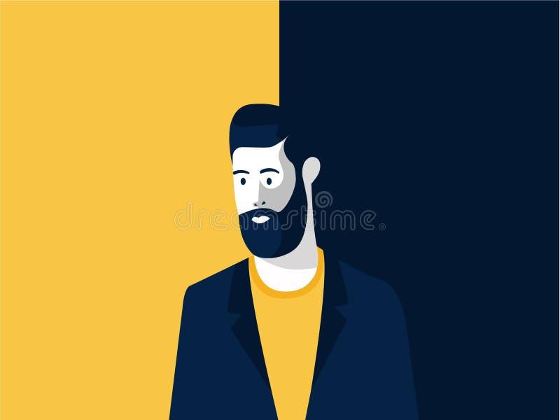 Mitt åldrades mannen med den moderna frisyren och uppsökte, illustrationen för annonserar frisyrsalongen royaltyfri illustrationer