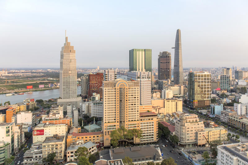 Mitt av den Ho Chi Minh staden arkivfoton