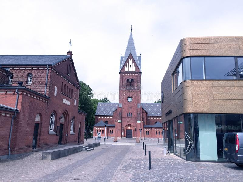 Mitt av staden Herning, Danmark arkivbilder