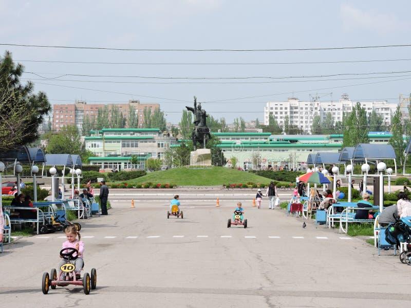 Mitt av staden Tiraspol royaltyfri fotografi