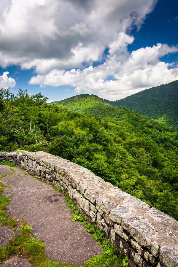 Mitt--dag sikt av de Appalachian bergen från Craggy höjdpunkt, royaltyfri fotografi