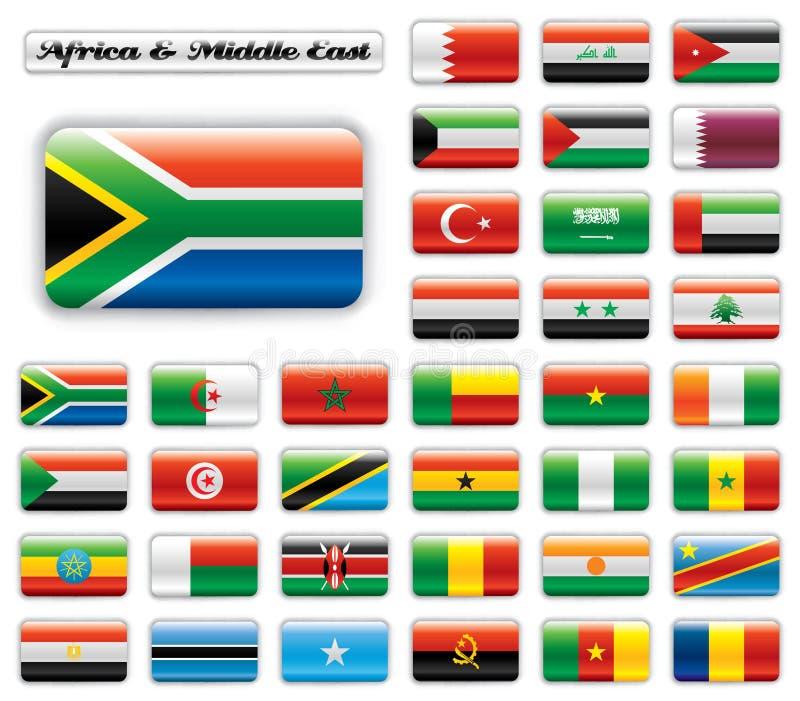 mitt för östliga extra flaggor för africa knapp glansig stock illustrationer
