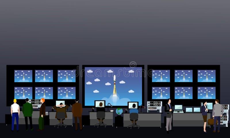 Mitt för utrymmebeskickningkontroll Illustration för raketlanseringsvektor stock illustrationer