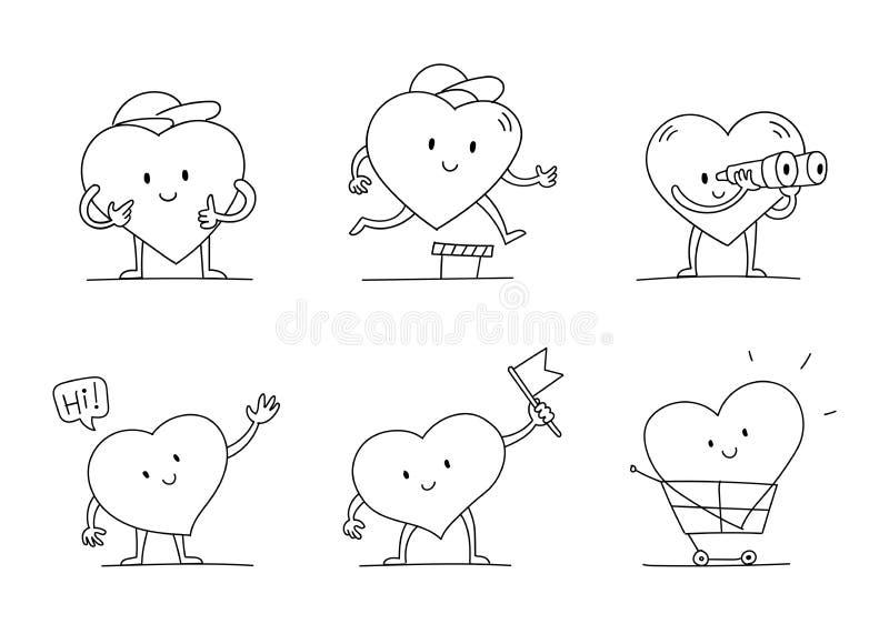 Mitt favorittecken - uppsättning Hjärta med ben, händer och framsidan skissar Med flaggan Roligt och gulligt Hand dragen svart li royaltyfri illustrationer