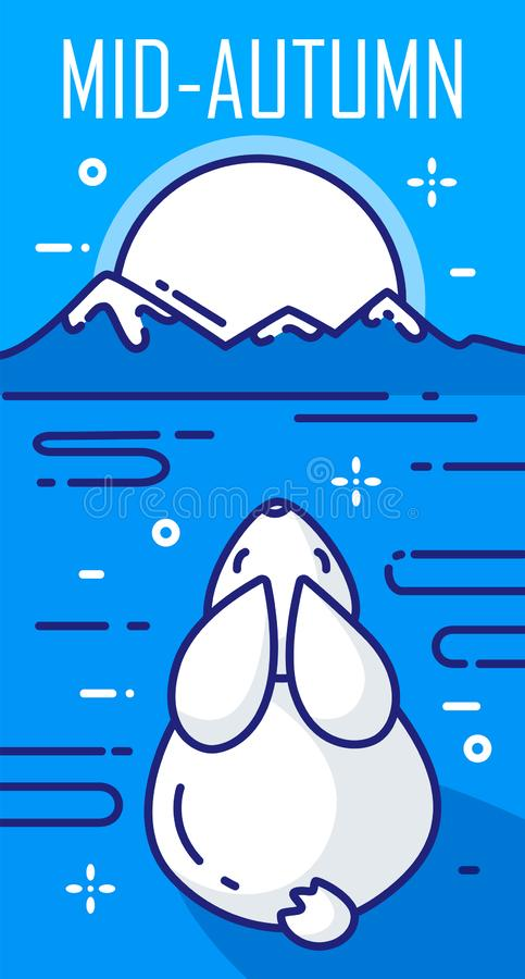 Mitt--höst festivalkort med månen, kanin och berg på blå bakgrund Tunn linje lägenhetdesign vektor vektor illustrationer