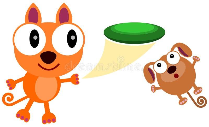 Mitt husdjur och min frisbee royaltyfri illustrationer