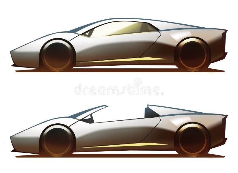 Mitt--motor för bilkropp kupé och roadster stock illustrationer