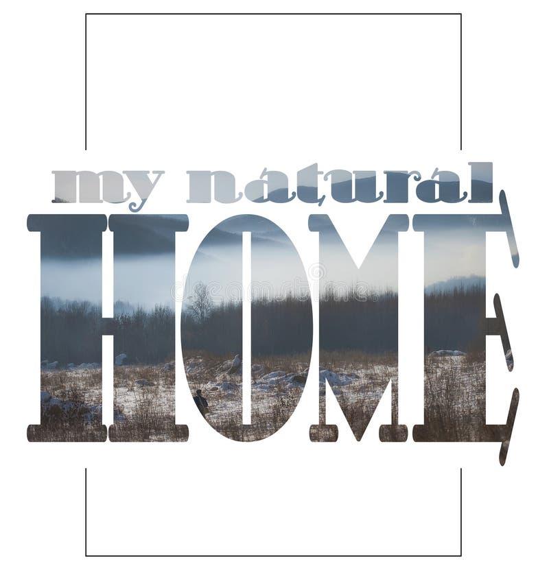 Mitt naturliga hem, reklamblad som använder negativt utrymme royaltyfri fotografi