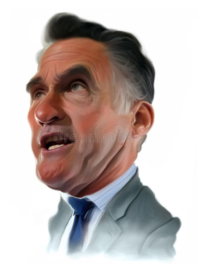 Mitt Romney Caricature portrait. Illustration