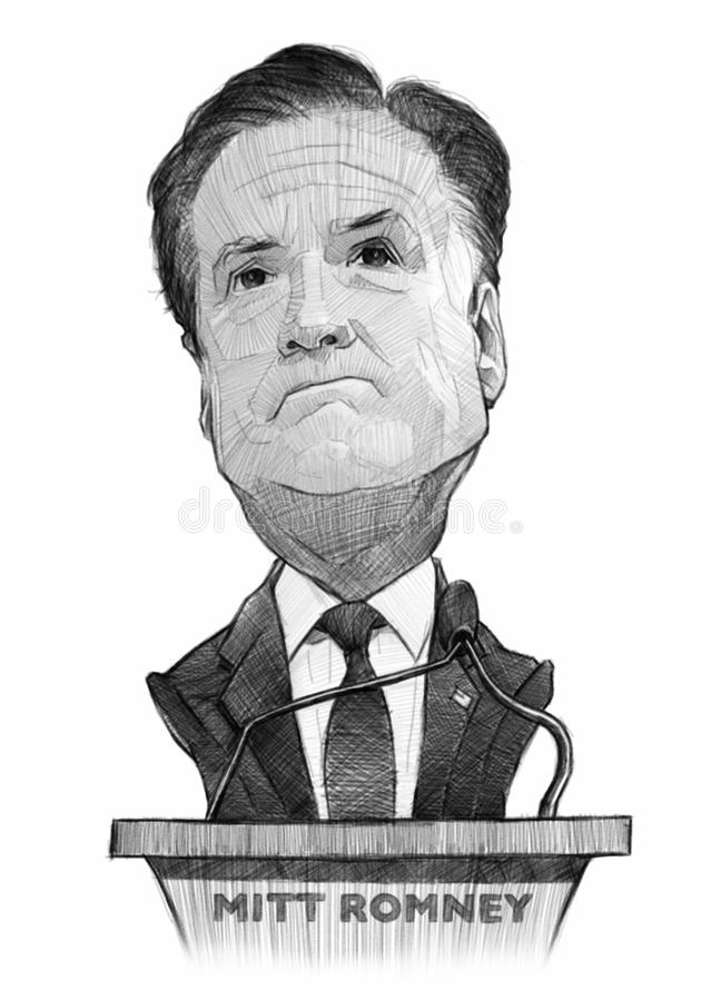 Mitt Romney Caricature Sketch. For editorial use stock illustration