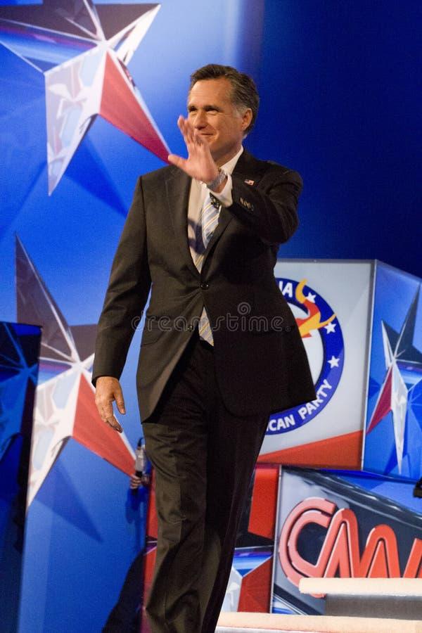 Mitt Romney an GOP-Debatte 2012 stockbilder