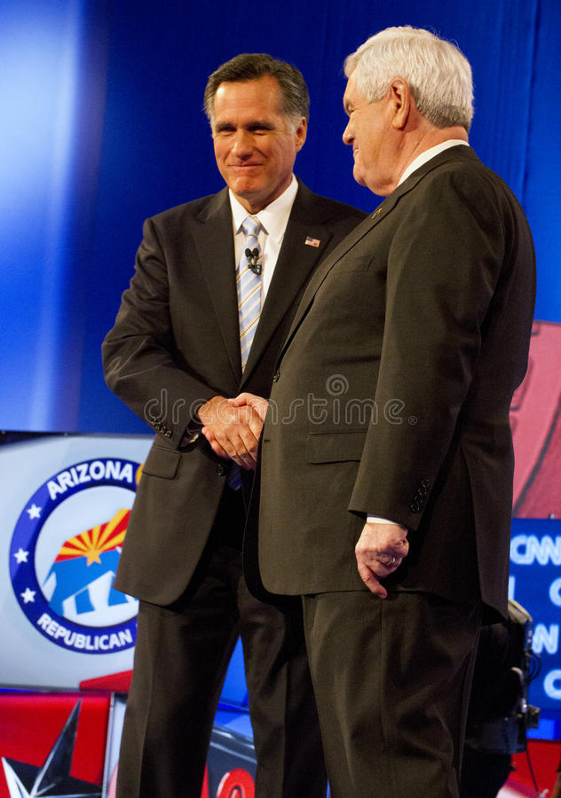 Mitt Romney and Newt Gingrich at GOP Debate 2012. Republican presidential hopefuls, Mitt Romney, Ron Paul, Newt Gingrich, and Rick Santorum, faced for the final royalty free stock image