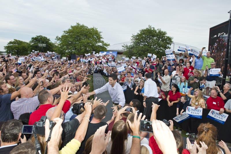 Mitt Romney, presidente de Paul Ryan, candidatos Vice imagem de stock