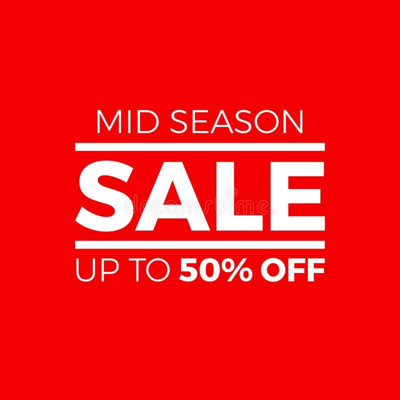 Mitt- säsong Sale upp till 50% av vektortecken stock illustrationer