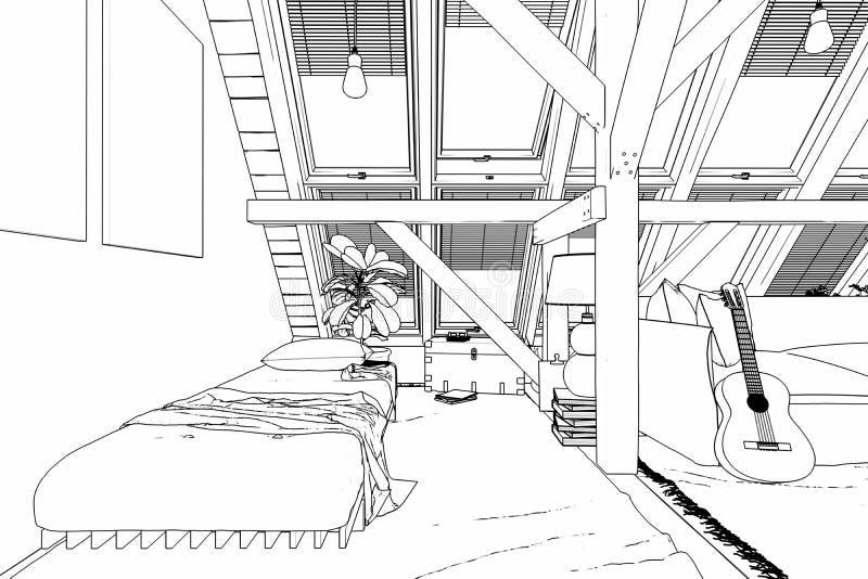 Mitt ställe under teckningen för tak 05 royaltyfri illustrationer