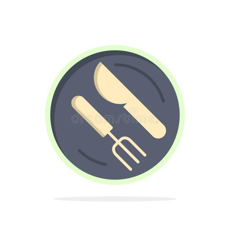 Mittagessen, Teller, Löffel, flache Ikone Farbe des Messer-Zusammenfassungs-Kreis-Hintergrundes stock abbildung