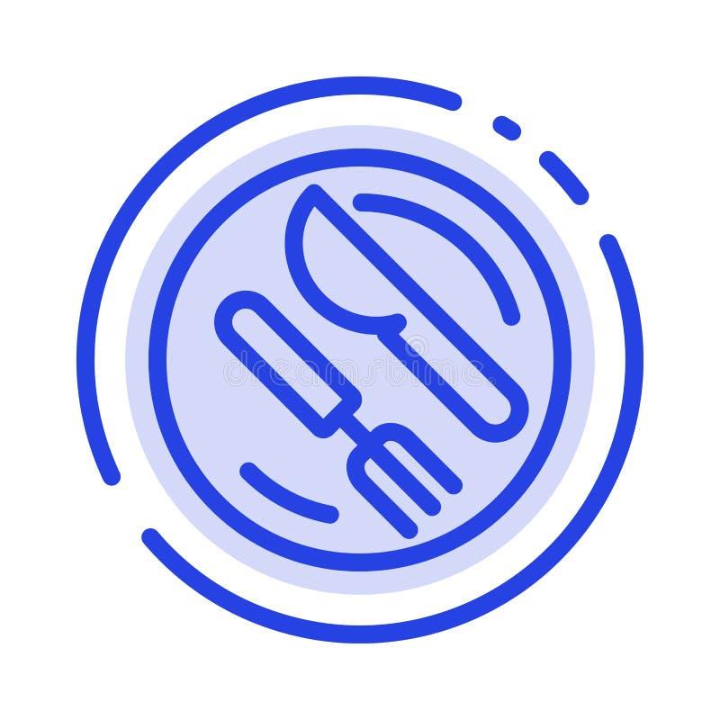 Mittagessen, Teller, Löffel, Linie Ikone der Messer-blauen punktierten Linie vektor abbildung
