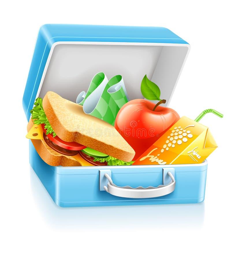 Mittagessenkasten mit Sandwichapfel und -saft vektor abbildung