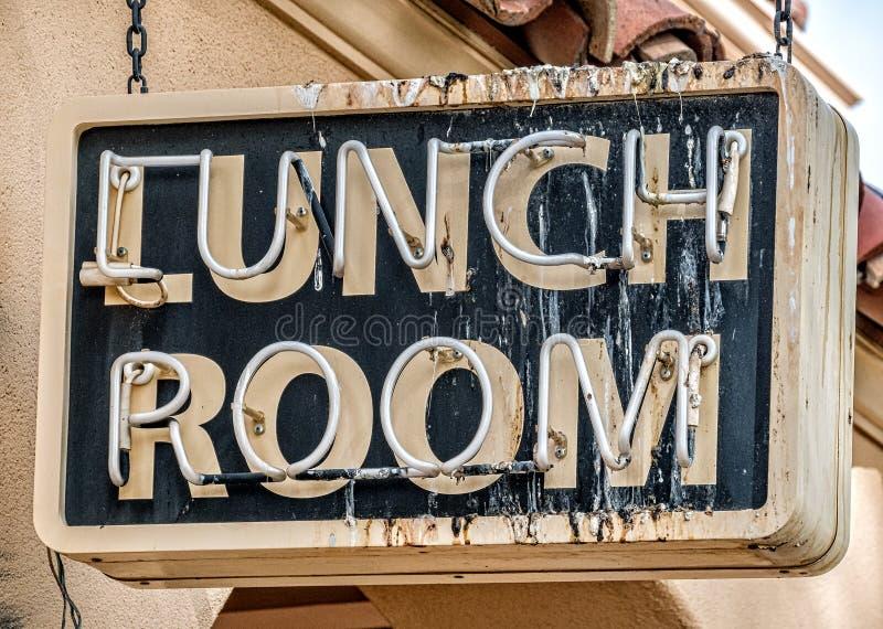 Mittagessenraumzeichen, Vogelstange stockbild