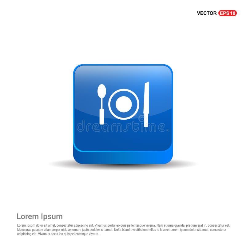 Mittagspauseikone - Knopf des Blau-3d lizenzfreie abbildung