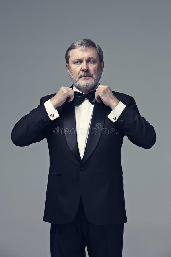 Mitte alterte den männlichen Erwachsenen, der einen Anzug auf Grau trägt stockfotografie