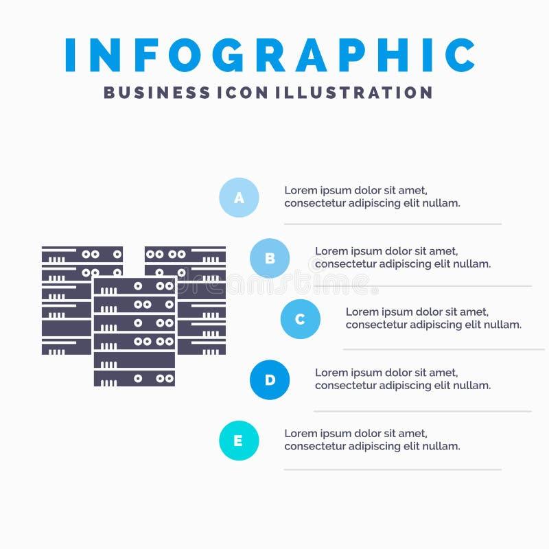 Mitte, Mitte, Daten, Datenbank, Server Infographics-Schablone für Website und Darstellung Graue Ikone des GLyph mit blauem infogr vektor abbildung