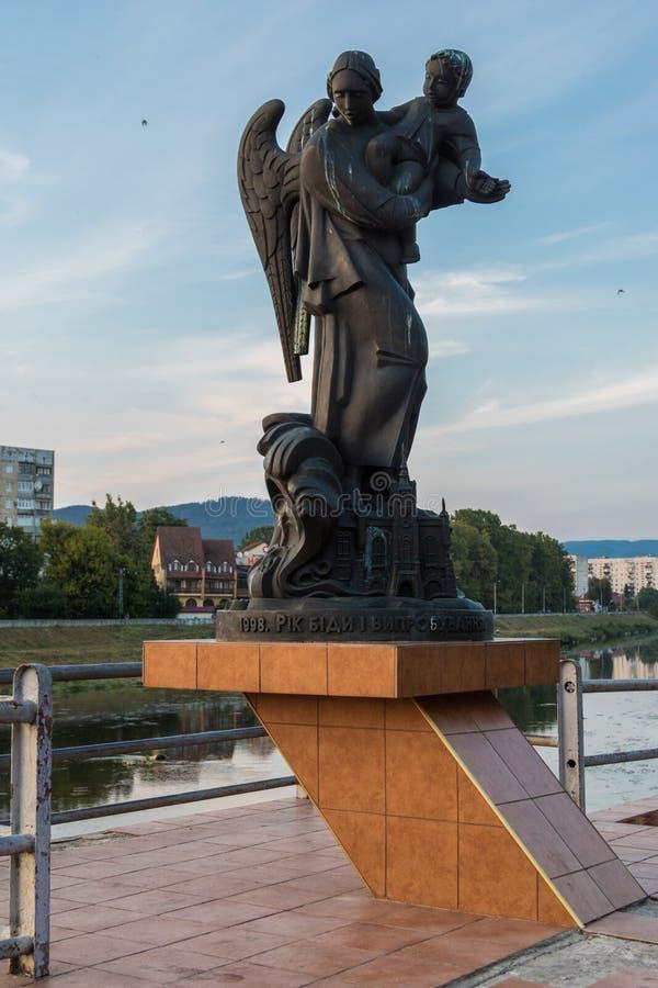 Mitte der Stadt Mukacheve stockbilder
