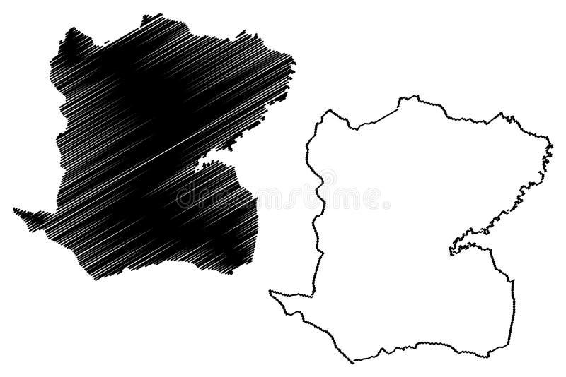 Mitteabteilung Republik von Haiti, Hayti, Hispaniola, Abteilungen der Haiti-Kartenvektorillustration, Gekritzelskizze Mittekarte lizenzfreie abbildung