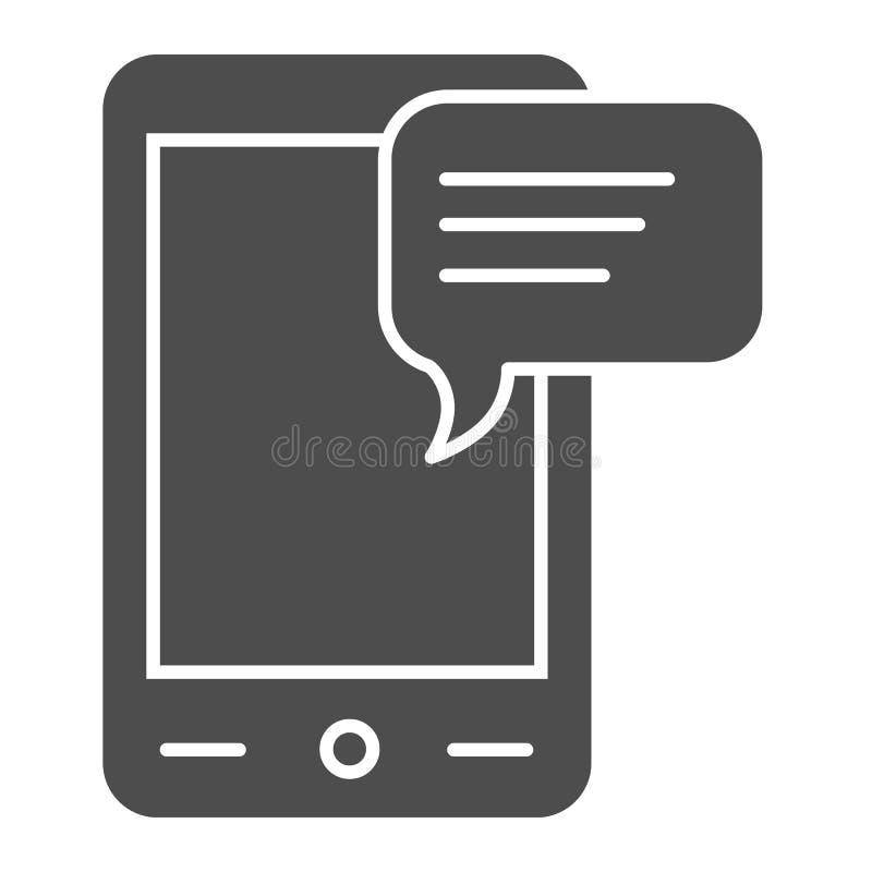 Mitteilung auf fester Ikone des Telefons Sms und Smartphonevektorillustration lokalisiert auf Weiß Schwätzchen Glyph-Artentwurf,  vektor abbildung