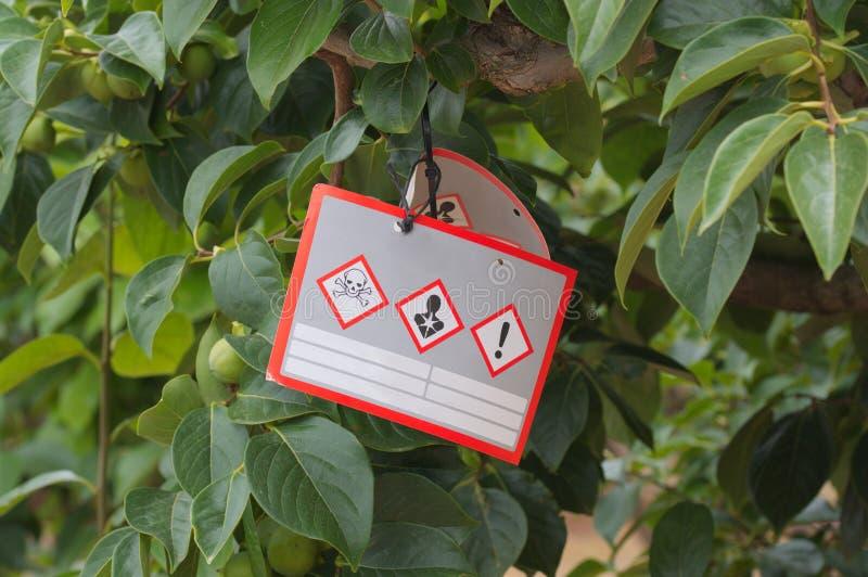 Mitteilung des Gebrauches der Insektenvertilgungsmittel und Schädlingsbekämpfungsmittel, die an einem Baum hängen stockbilder