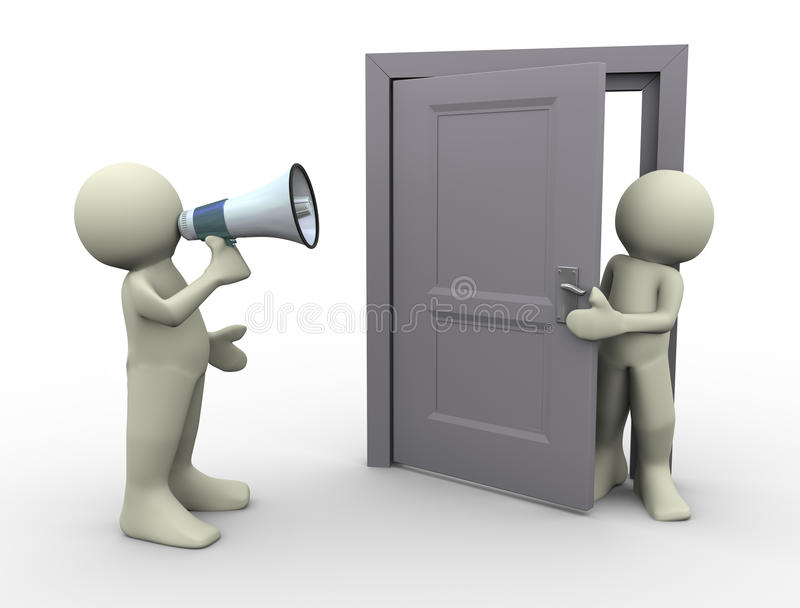 Mitteilung des Mannes 3d an der Tür vektor abbildung
