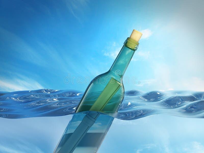 Mitteilung in einer Flasche, die auf Meeresspiegel schwimmt Abbildung 3D stock abbildung