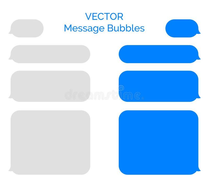 Mitteilung sprudelt Vektorikonen für Chat Vektormitteilungsblasendesign-Botechat lizenzfreie abbildung