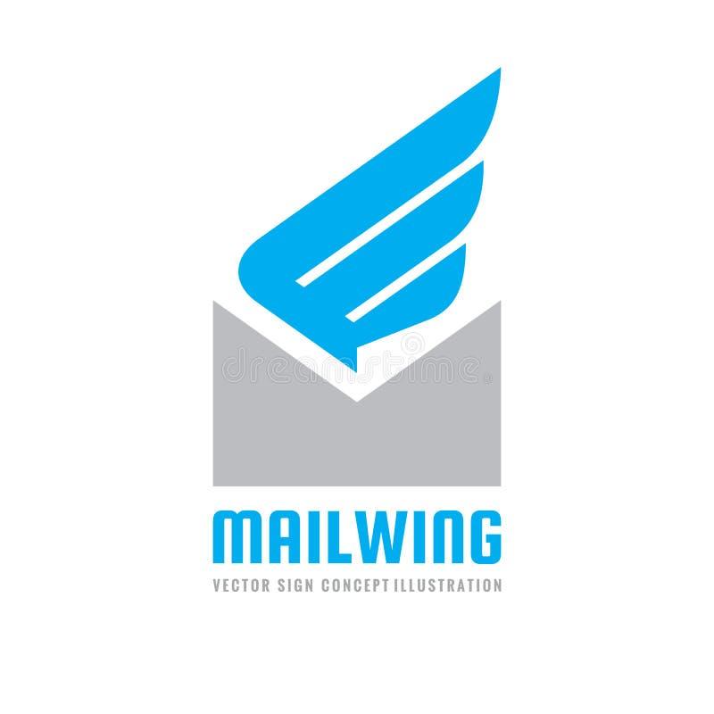 Mitteilung - Vektorlogoschablonen-Konzeptillustration E-Mail-Buchstabespracheblase mit kreativem Zeichen des Flügels Geschwindigk lizenzfreie abbildung