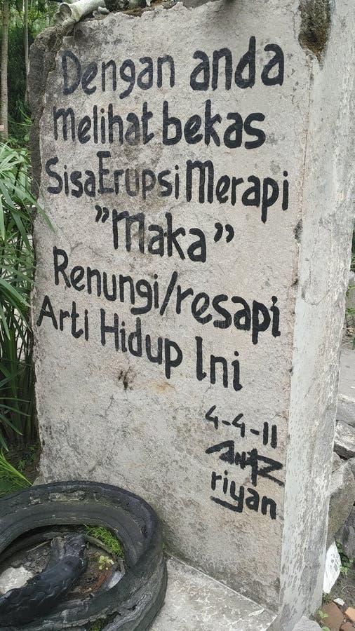 Mitteilung vom Gunung Merapi lizenzfreies stockfoto