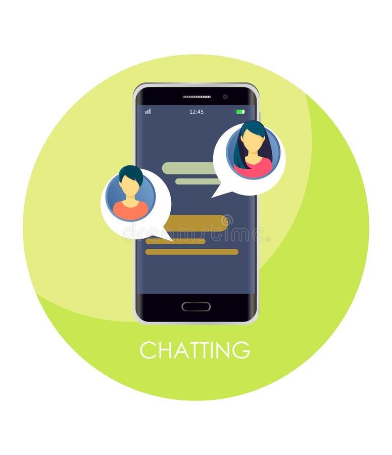 Mitteilung von Schwätzchenmitteilungen auf einer Smartphonevektorillustration, flache sms Blasen mit Avataras von Mädchen auf ein vektor abbildung