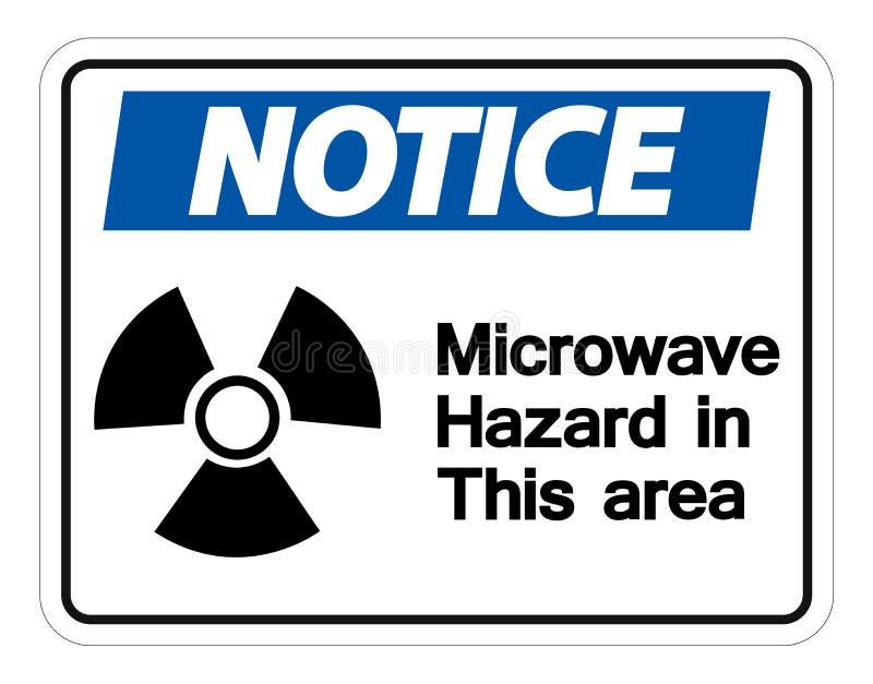 Mitteilungs-Mikrowellen-Gefahrzeichen auf weißem Hintergrund, Vektor llustration vektor abbildung