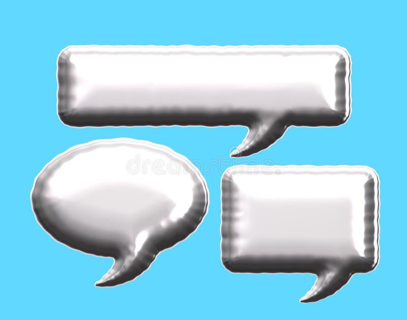 Mitteilungsblasenballon der silbernen Folie stock abbildung