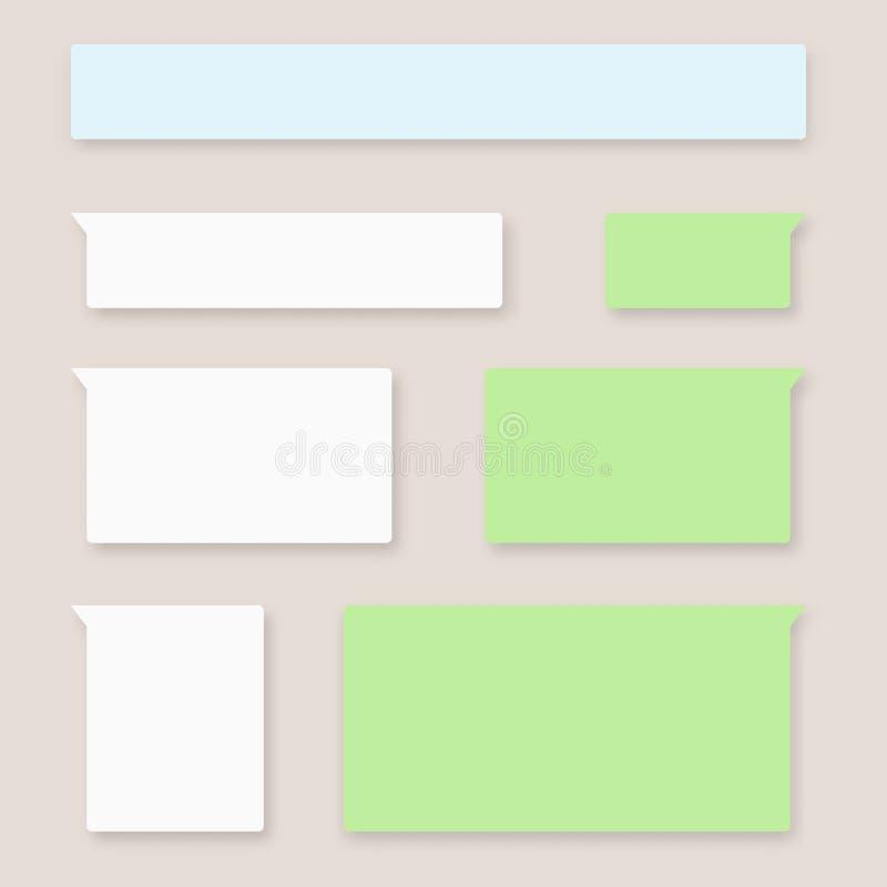 Mitteilungsblasenchat-Vektorikonen Vektor geruhen Schablone von Mitteilungsblasen-Chatkästen stock abbildung