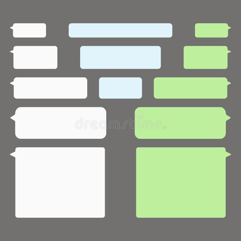 Mitteilungsblasenchat-Vektorikonen Vektor geruhen Schablone von Mitteilungsblasen-Chatkästen lizenzfreie abbildung