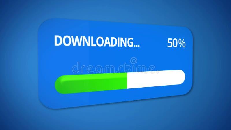 Mitteilungsfenster über Downloading, Statusleisteshowhälfte des Fortschritts ist vorbei stock abbildung