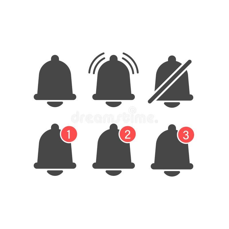 Mitteilungsglockenikonen stellten mit Glocke und verschiedenen Elementen ein Für ankommende inbox Mitteilung Moderne vektorabbild vektor abbildung