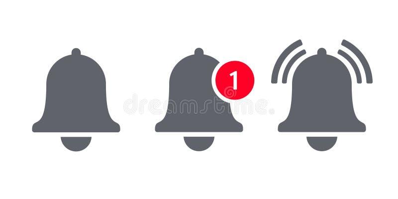 Mitteilungsglockenikonenvektor inbox Mitteilung stock abbildung