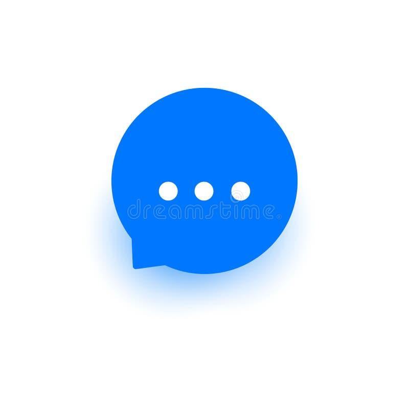 Mitteilungsvektorikone, Text-E-Mail-Zeichen, flacher Entwurf für Netz, Website mobiler App, blaue Blase lokalisiert auf Weiß lizenzfreie abbildung