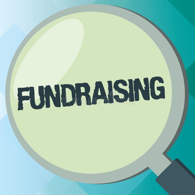 Mittel beschaffendes Handschriftstext Konzeptbedeutung Suchen der finanziellen Unterstützung für Nächstenliebeursache oder -unter stock abbildung